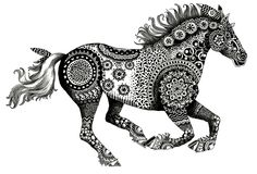 Running Horse. Zentangle. Mixed Media. Ink on Bristol. Janelle Dimmett 2016. www.janelledimmett.com.