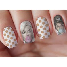 Audrey & Marilyn Bubblegum Nail Decal ($4) ❤ liked on Polyvore featuring beauty products, nail care, nail treatments and multicolor