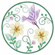 Set of 2 different hummingbird circle embroidered  fabric quilt squares RQQ™