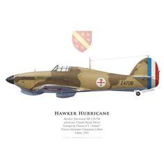 """Hawker Hurricane Mk I, Claude Raoul Duval, FAFL, Groupe de Chasse """"Alsace"""", 1941 - Bravo Bravo Aviation                                                                                                                                                     Plus"""