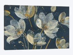 Global Gallery Albena Hristova Tapestry II Gold and White Giclee Stretched Canvas Artwork 18 x 18