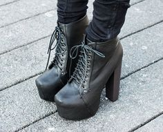 Jeffery Campbell black Lita high heel boots, lace up