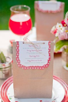 Cute and cheap favor packaging (have something else on the tag other than the menu)