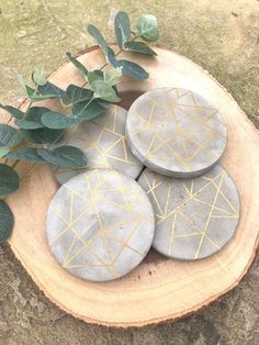 Set of 4 gold geometric concrete coasters