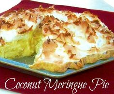 Old Fashioned Coconut Meringue Pie {Granny's Recipe} Yummy! Old Fashioned Coconut Meringue Pie just like grandma use to make. Get the recipe to make the perfect pie filling and a secret to keep the me… Just Desserts, Delicious Desserts, Yummy Food, Health Desserts, Cold Desserts, Vegan Desserts, Healthy Food, Pie Dessert, Dessert Recipes