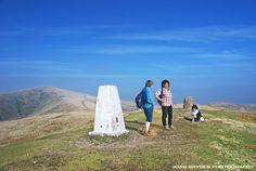 Walkers on Winder summit, Sedbergh in the Howgills, Sedbergh, Cumbria, England