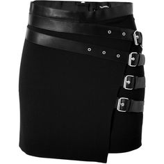 THE KOOPLES Leather Trim Mini Skirt (270 AUD) ❤ liked on Polyvore featuring skirts, mini skirts, bottoms, saias, short skirts, gonne, fitted mini skirt, leather miniskirt, real leather skirt and punk skirt