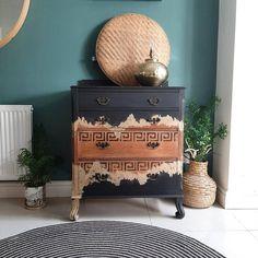Stunning Vintage Oak Chest of Drawers, Bureau, Handpainted, Black & Gold Leaf Hand Painted Furniture, Retro Furniture, Recycled Furniture, Refurbished Furniture, Furniture Makeover, Diy Furniture, Wood Chest, Exposed Wood, Furniture Manufacturers