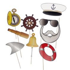 Navy Anchor Sailor Photo Booth Props Kit on Sticks Birthday Party Supplies Nautical Themed Baby Shower Christmas Party Favor Do Not Need DIY