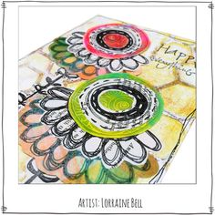 Floral art created by Lorraine Bell using the Art Fusion Rubber Stamps from Paperbag Studios.