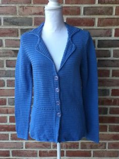Talbots Baby Blue Chunky Cardigan Sweater Sz Small Long Sleeve #Talbots #Cardigan