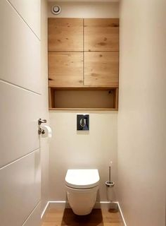 Space Saving Toilet Design for Small Bathroom 139 Small Toilet Design, Small Toilet Room, Bathroom Design Small, Bathroom Layout, Washroom Design, Bathroom Interior Design, Bathroom Cabinets Over Toilet, Basement Bathroom, Space Saving Toilet