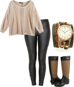 chic outfit, rainboots and SD wrap watch - available on shopbop!