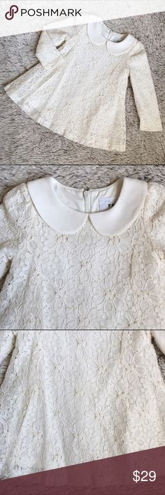 Lace Swing Dress🍭Like New Adorable off white lace swing dress with butterfly collar. In like new condition. Worn for only 2 hours.  Has a hidden back zip. Beautiful dress for your little one. Dresses Formal