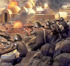 Rebel troopers bunkered down in a battle. Star Wars