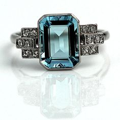 Antique  Emerald Cut Aquamarine and Single Cut Diamond Engagement Ring  1900's