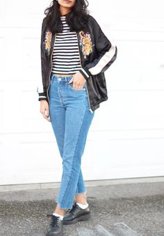 striped crop shirt, two tone jeans, floral bomber, black knitted hat , on my reading list