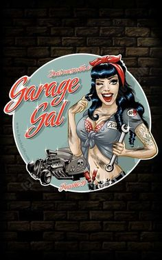 Rockabilly Shop - Jahre Mode & Vintage Mode Rumble 59 Garage Girl sticker for my tool box Pin Up Vintage, Vintage Mode, Vintage Art, Vintage Metal Signs, Rockabilly Shop, Rockabilly Fashion, Rockabilly Couple, Pin Up Girls, Hot Girls