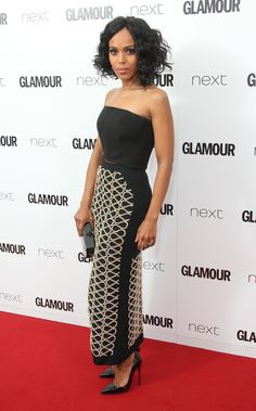 The actress opted for a David Koma tube top and embroidered front-slit skirt on the red carpet. She completed her look with Christian Louboutin pumps, EFFY rose gold diamond earrings, and an EF Collection bangle.
