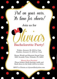 Put on your ears Its time for cheers! This is a listing for a high resolution digital copy of an disney themed invitation that I will customize