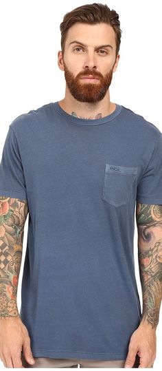 RVCA PTC 2 Pigment Knit Tee (Dark Denim) Men's T Shirt - RVCA, PTC 2 Pigment Knit Tee, M3910PTC-997, Apparel Top Shirt, T Shirt, Top, Apparel, Clothes Clothing, Gift, - Fashion Ideas To Inspire