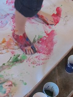 Dr. Seuss, The Foot Book, painting with feet!  I LOVE a good mess!!