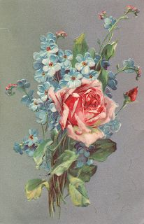 Leaping Frog Designs: Vintage Post Card Rose Bouquet And Forget Me Nots Free Images