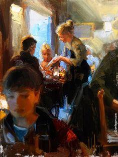 """VADSTENA. IN RESTAURANT HORNET"", 30x40 cm, oil on canvas, artist Vladimir Volegov"