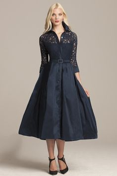 Navy Tea- Length Shirtdress
