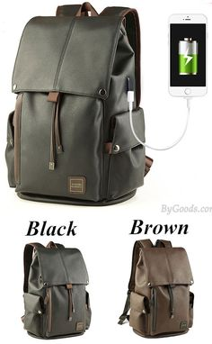 245396c973 Leisure Men s PU Leather Draw String Large School Bag With USB Interface  Capacity Flap Hiking Backpack