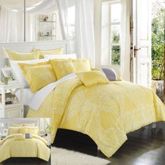 Perugia 12 Piece Comforter Set by Chic Home, Yellow