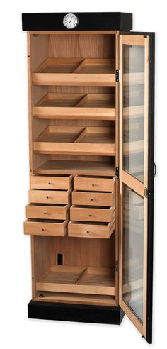 Cigar Tower II - Black Oak  Item #: HUM-2000BLK-SHELF  3000 Cigar - Tower Humidor with 5 Shelves (No Drawers)
