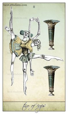 The Two of Cups - The Isidore Tarot - #tarot #cups #twoofcups https://www.etsy.com/listing/192875045/the-isidore-tarot-a-neo-victorian