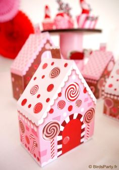 Christmas candyland printable favor boxes!!  #Christmas #dessertstable #candyland