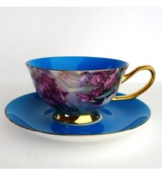 Satin Shelley Teacup, Blue