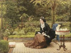 Image detail for -British Paintings: George Dunlop Leslie - Five O'Clock, c.1874