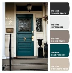 Front door colors with tan house brown exterior paint 57 Ideas Teal Front Doors, Teal Door, Front Door Paint Colors, Exterior Paint Colors For House, Painted Front Doors, Paint Colors For Home, Teal Paint Colors, Beige House Exterior, Neutral Paint