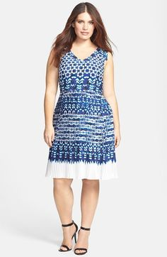 Adrianna Papell Ikat Print Pleat Fit & Flare Dress (Plus Size) available at #Nordstrom