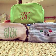 Cute monogrammed travel bags from Monograms off Madison.
