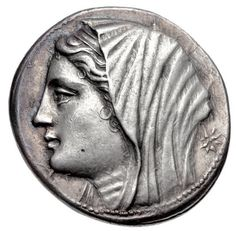 Tetradrachm of Philistis, wife of Hieron II, Syracuse, Sicily, struck c. 218/7-214 BC The coin shows the diademed and veiled head of Philistis facing left with a star to her right.