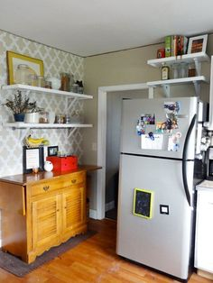 http://www.apartmenttherapy.com/ideas-for-using-that-awkward-space-above-the-fridge-216370