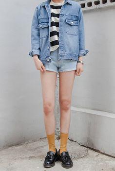 striped tee, jean shorts, denim jacket, yellow socks, black oxfords