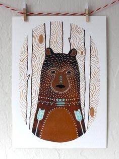 Bear Illustration peinture - aquarelle Art - chasseur, le petit ours brun par Marisa Redondo