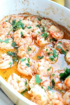 Shrimp Recipes Quick and easy Baked Butter Garlic Shrimp, perfect on there own or delicious tos. Seafood Recipes, Dinner Recipes, Cooking Recipes, Healthy Recipes, Top Recipes, Quick Shrimp Recipes, Dinner Ideas, Recipies, Meals With Shrimp