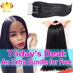 Afee Hair Products Peruvian Virgin Hair with Closure 3 Bundles Peruvian Straight Hair with Closure Human Hair with Lace Closure //Price: $107.64 & FREE Shipping //     #hairextension #style #beauty #woman #love