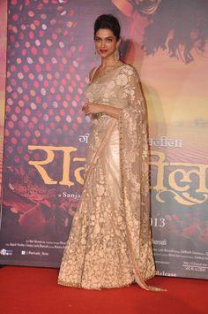 Deepika Padukone Looks Gorgeous In Saree At Film 'Ram Leela' Trailer Launch more @ http://luvcelebs.com