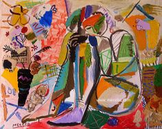 "OH MY GIRL  José Manuel Merello.- ""Mujer sentada con Florero""  //  ""Sitting woman with vase"" Mix Media on Canvas (81x100 cm) (2008-2010)  Women in Art. Fine Art Nudes. http://www.merello.com"