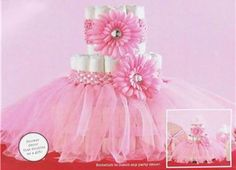 Pink Tutu Diaper Cake Girl Baby Shower Fully Assembled