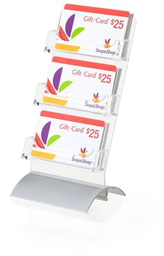 Workshop Series Business Card Display for Tabletop, Slant Back - Silver Gift Card Displays, Business Card Displays, Business Cards, Certificate Holder, Trade Show Booth Design, Retail Signage, Retail Fixtures, Store Layout, Point Of Purchase