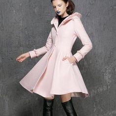 Women's Winter Single breasted wool Coat red swing hooded | Etsy Winter Coats Women, Coats For Women, Clothes For Women, Ladies Hooded Coats, Green Wool Coat, Hooded Wool Coat, Coat Pattern Sewing, Cool Coats, Swing Coats